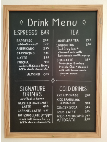 Coffee Menu Small Size